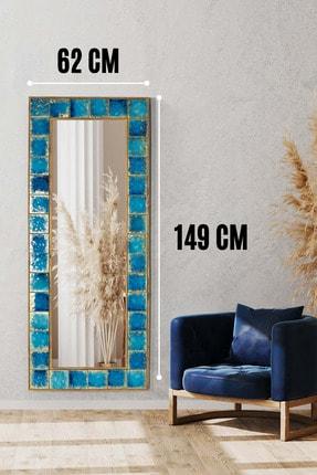 bluecape Napoli Doğal Ağaç Çerçeveli El Yapımı Çini Seramik Kaplı Salon Duvar Konsol Boy Aynası  62x149 Cm