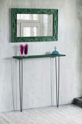 bluecape Doğal Ağaç Masif  Yeşil Tahta Parçacıklı Salon Ofis Mutfak Duvar Konsol Boy Aynası 58x98 Cm