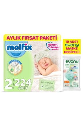 Molfix Bebek Bezi 2 Beden Mini Aylık Fırsat Paketi 224 Adet + Maske 10lu Hediye