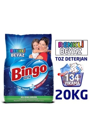 Bingo Matik Toz Çamaşır Deterjanı Renkli & Beyaz 10 Kg 2'li