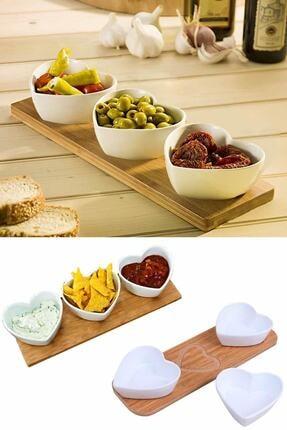 Helen's Home Bambu Standlı 3'lü Kalpli Porselen Sunumluk Tabak Kahvaltılık Çerezlik Kase