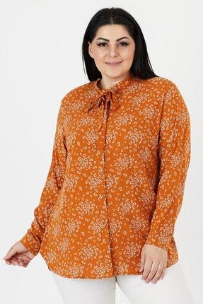 VAV Kadın Büyük Beden Gömlek Pamuklu Çiçek Desenli