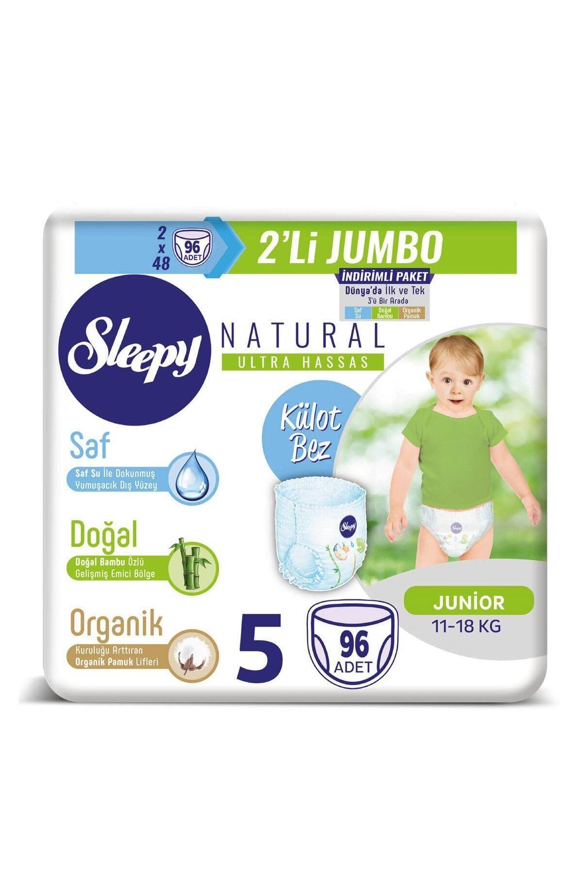 Sleepy Natural Külot Bez 5 Beden Junior 2x2'li Jumbo 96 Adet 1