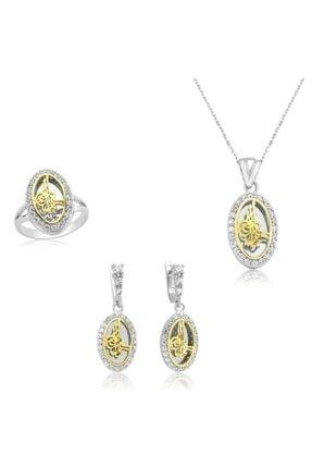 Gumush Kadın Beyaz Gümüş Tuğra Set
