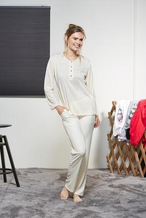 PJS Bayan Pijama Takım Ekru 3290