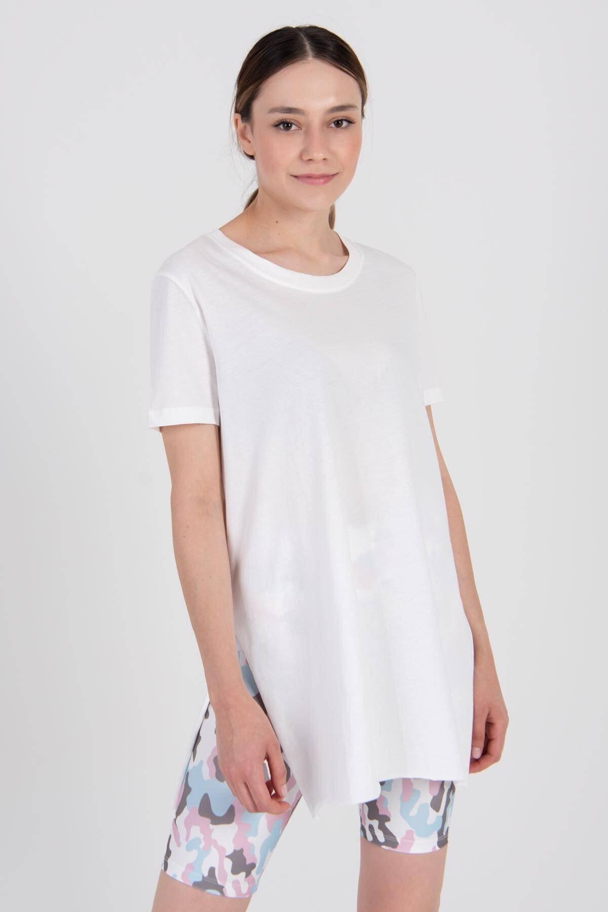 Addax Kadın Ekru Bisiklet Yaka T-Shirt P0101 - U4Y1 Adx-00007204 1