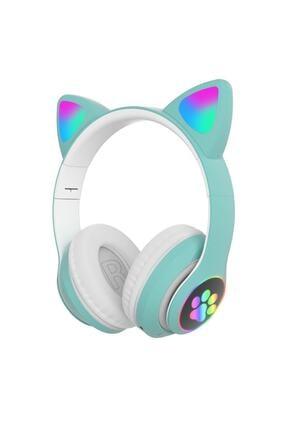 BLUPPLE Kablosuz Bluetooth 5.0 Led Işıklı Sevimli Kedili Şık Tasarım Kulaklık Yeşil Renk