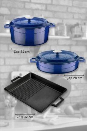 Lava Döküm 3 Parça Mavi Tencere Tava Seti