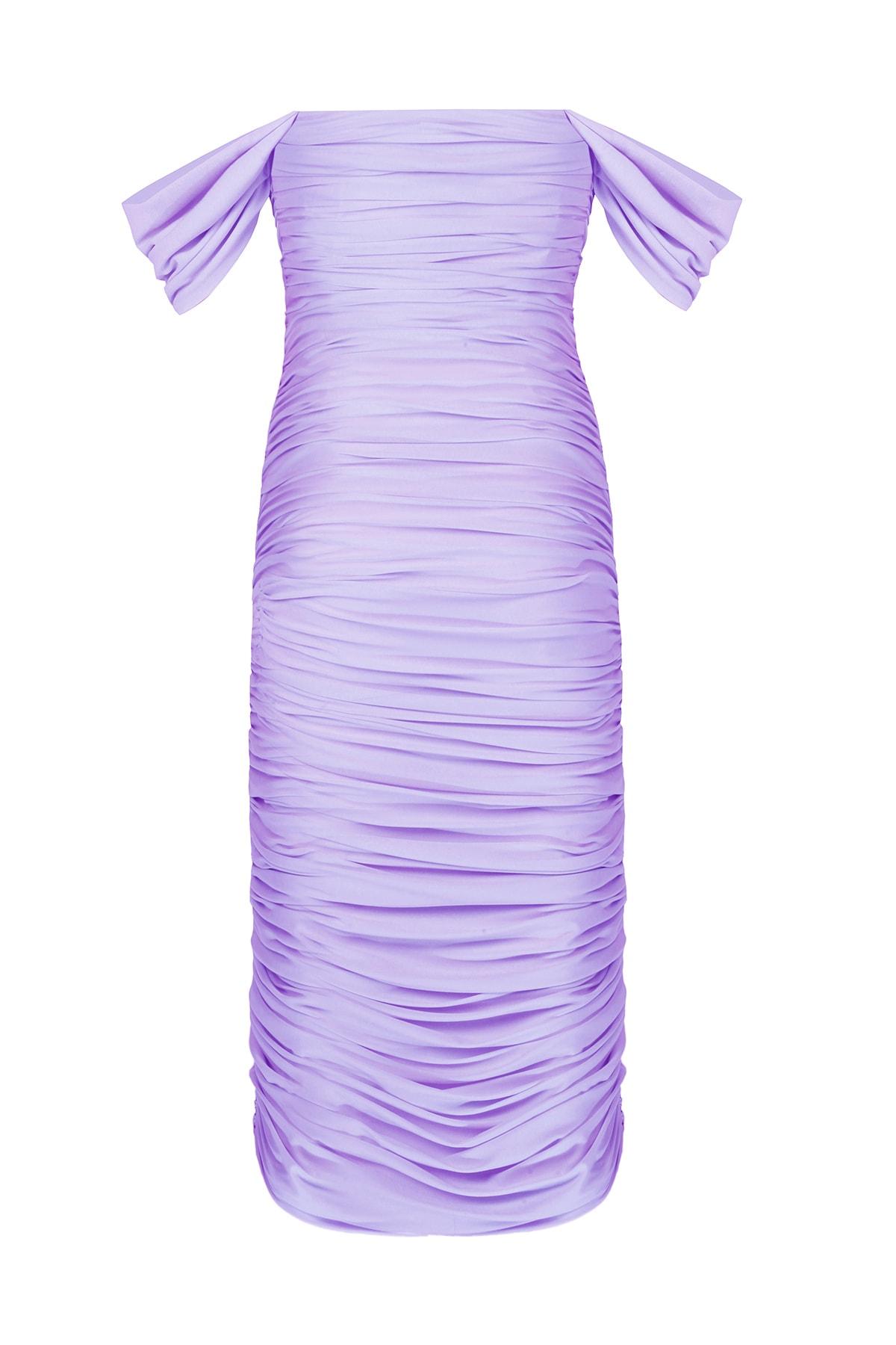 Whenever Company Kolları Degajeli Drapeli Midi Bridal Elbise 2