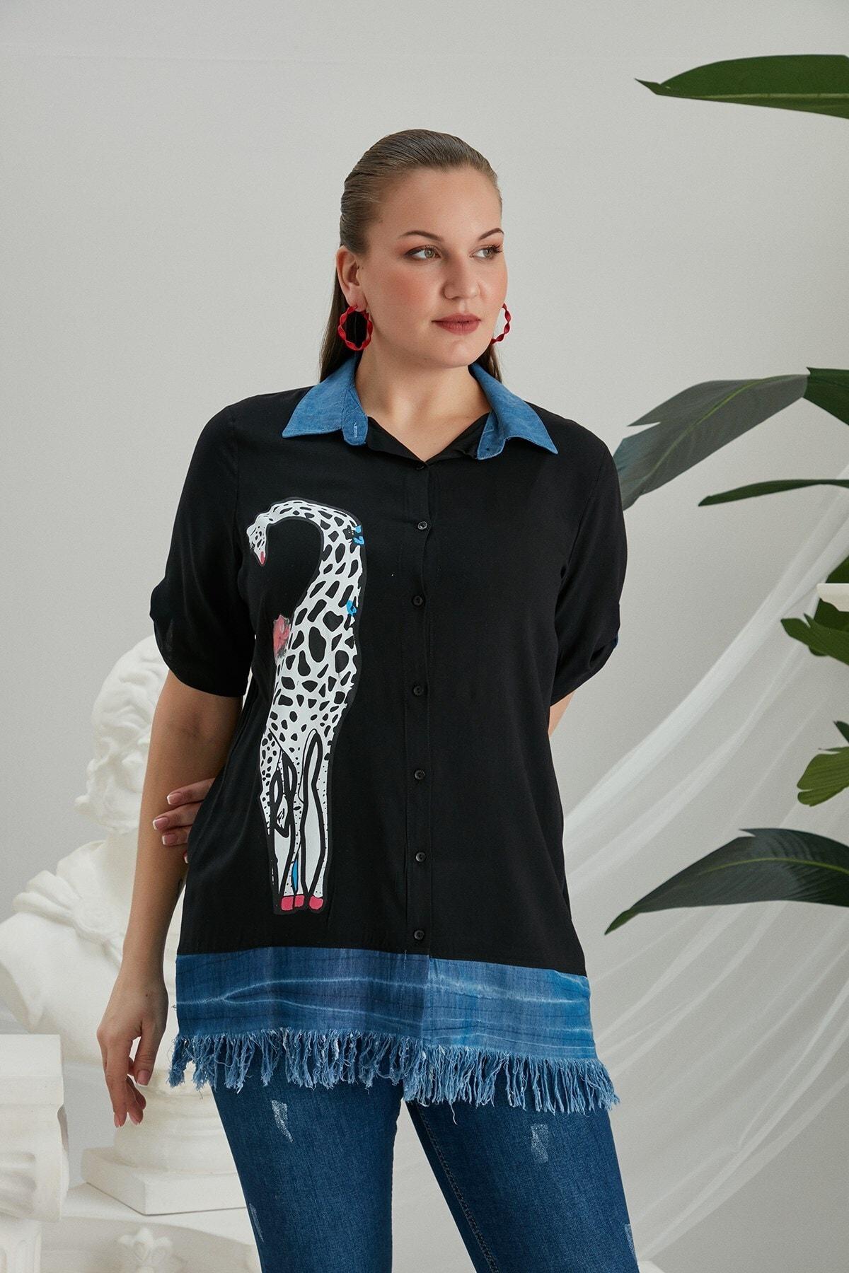 RMG Zürafa Baskılı Püskül Detaylı Büyük Beden Siyah Gömlek 1