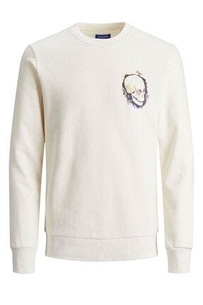 Jack & Jones Erkek Beyaz Kafatası Desenli Sweatshirt
