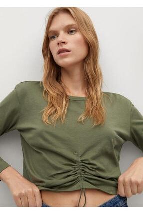 MANGO Woman Fırfırlı Uzun Kollu Tişört