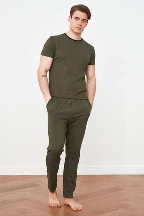 TRENDYOL MAN Haki Biye Detaylı Örme Pijama Takımı THMAW21PT0366