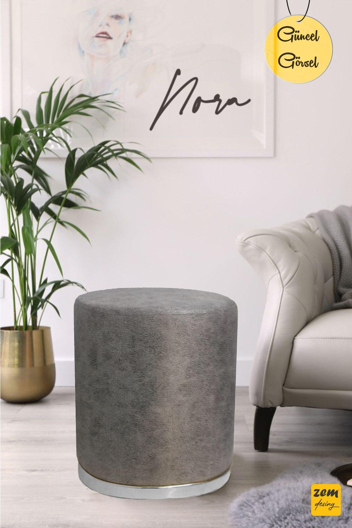 Zem Nora Silinebilir Puf - Grey Silver 1