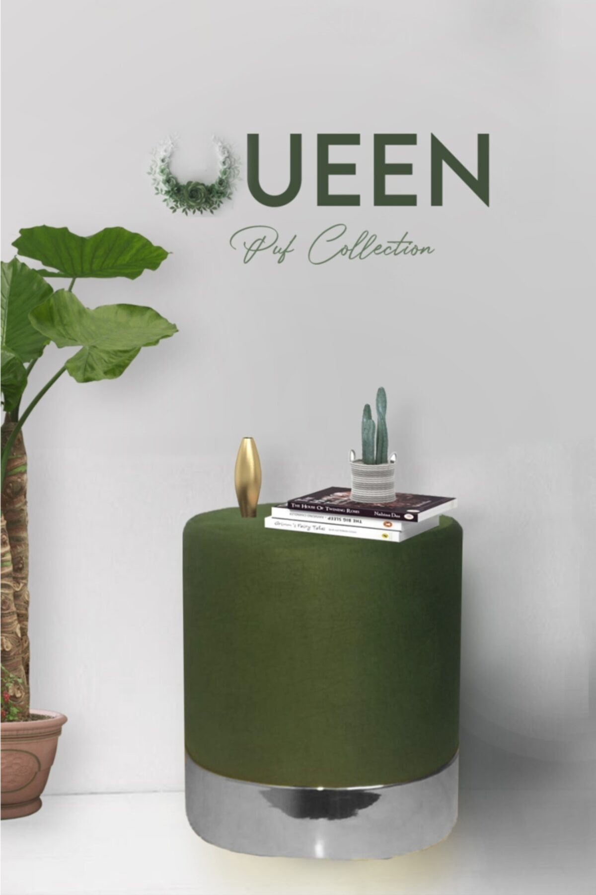 Zem Queen Green - Silver Puf 1
