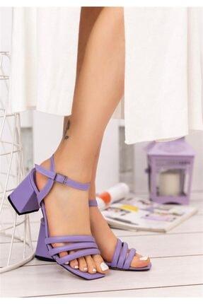 Öncerler Ayakkabı Lila 3 Bant Kadın Topuklu Ayakkabı