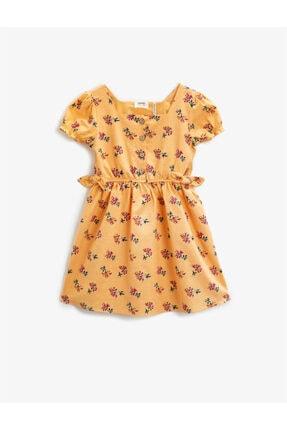 Koton Kız Çocuk Turuncu Çiçekli Baglama Detayli Kare Yaka Kisa Kollu Pamuklu Elbise