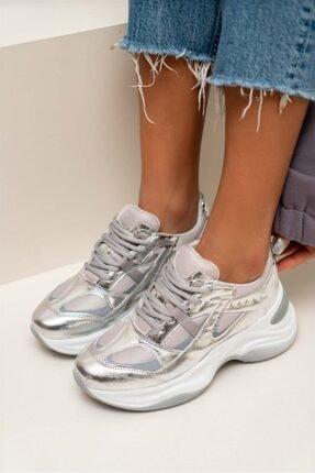 NİŞANTAŞI SHOES Reyna Gümüş Mat Kalın Taban Bağlı Kadın Sneakers Spor Ayakkabı