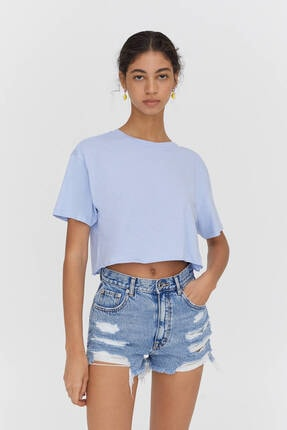Pull & Bear Biyeli Dikişli Crop Fit T-shirt - %100 Organik Pamuklu