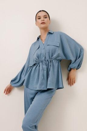 Gusto Beli Büzgülü Ceket Bluz - Mavi