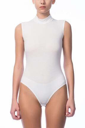 NBB Kadın Beyaz O Yaka Sıfır Kol Çıtçıtlı Body NBB 2950
