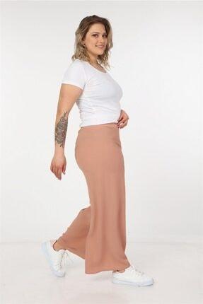 Womenice Kadın Ekru Dökümlü Bol Paça Pantolon