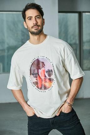 Sateen Men Erkek Ekru Baskılı T-Shirt