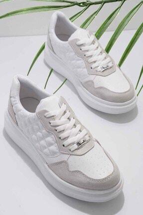 Bambi Gri Beyaz Süet Kadın Sneaker K01578090065