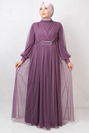 Fahima Kemer Detaylı Tül Abiye Elbise Lila Fhm777