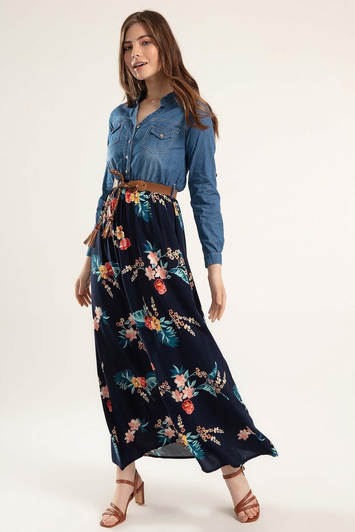 Pattaya Kadın Eteği Çiçekli Uzun Kot Elbise Y20s110-1395 1