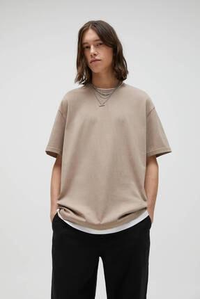 Pull & Bear Kadın Kahverengi Çift Katlı Kenarlı Basic T-shirt