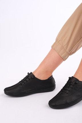 Marjin Edor Kadın Hakiki Deri Günlük Comfort Ayakkabısiyah