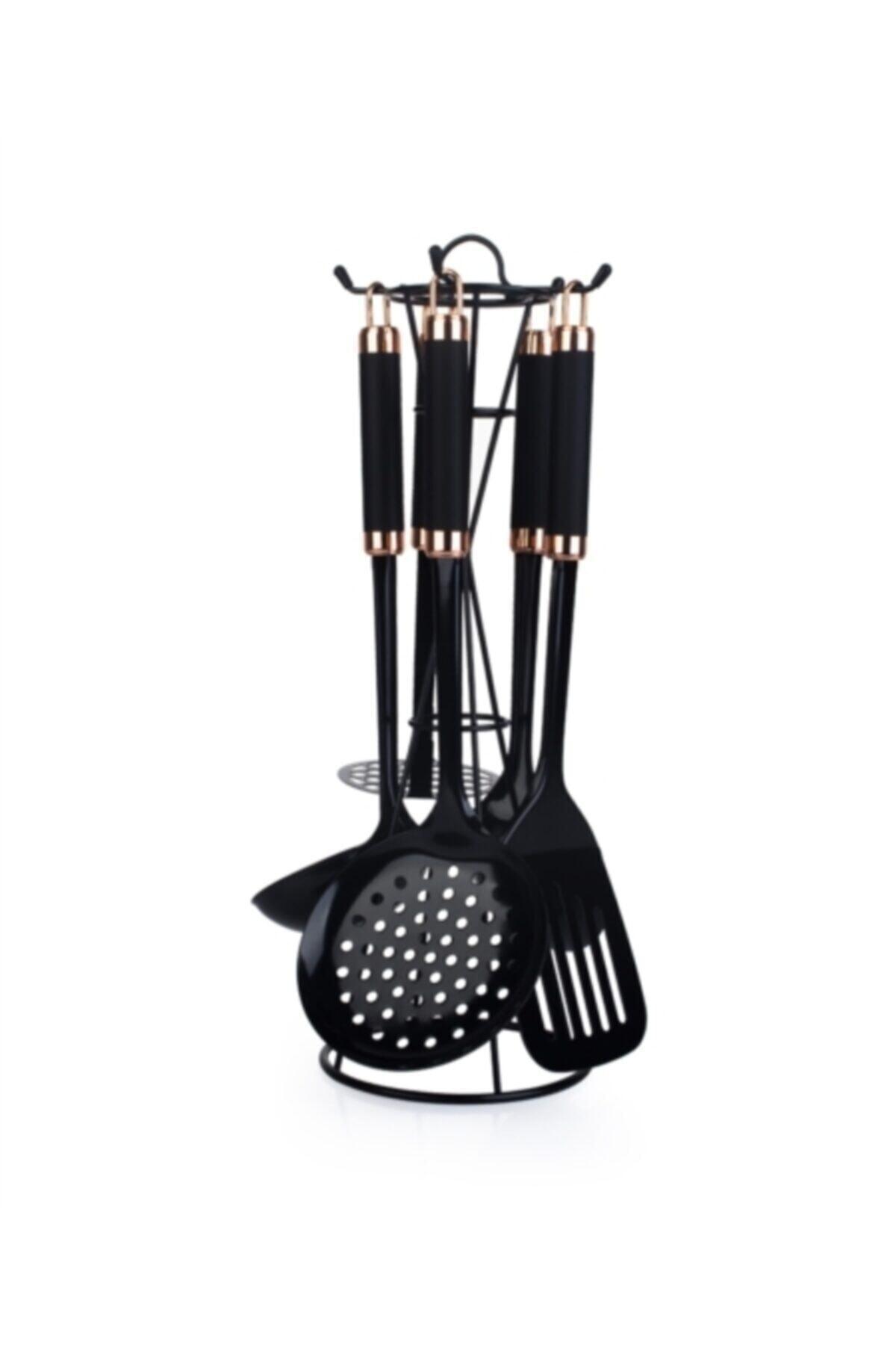ACAR Perlino 5'li Metal Standlı Mutfak Set Siyah Byk-009899 1