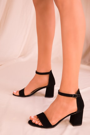 SOHO Siyah Süet Kadın Klasik Topuklu Ayakkabı 16028
