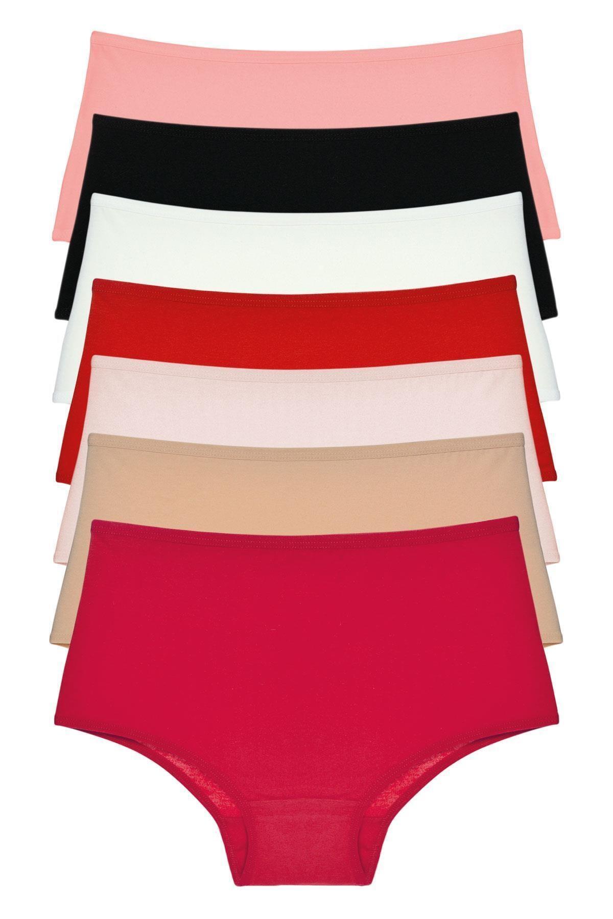 LadyMelex Kadın Çok Renkli Yüksek Bel Büyük Beden Külot 7'li Paket 1