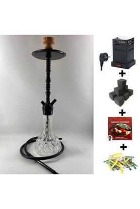 Akarsu Nargile Siyah Kristal Kilitli Nargile Takımı Full Set (ocak + Kömür + Folyo + Sipsi)