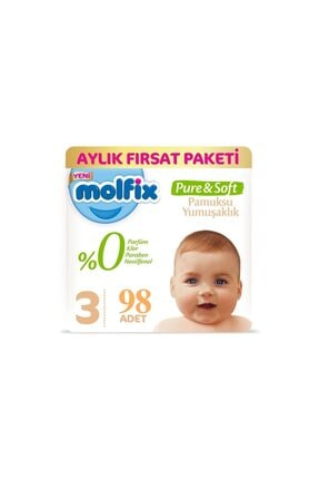 Molfix Pure&soft Bebek Bezi Midi No:3 4-9 Kg 98 Adet