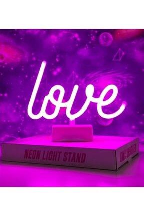 Lumenn Love Neon Gece Lambası Pilli Pembe Renkte Dekoratif Led Aydınlatma-masa Dekor Led Aydınlatma