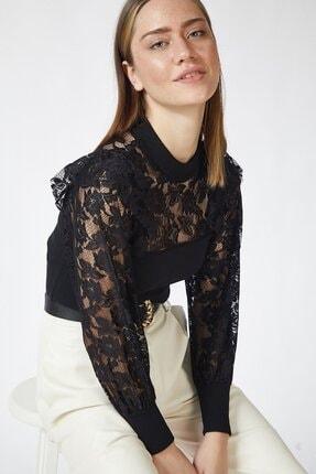 HAKKE Kadın Siyah Göğüs Kol Tüll Bluz