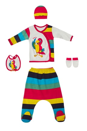 Pattaya Kids Erkek Bebek 0-3 Ay Papağan Baskılı Takım 5 Li P-bp3037