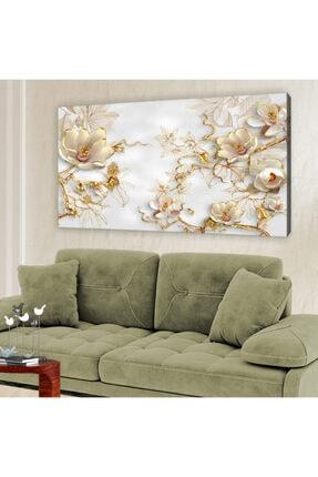 hanhomeart Gold Çiçek Kanvas Tablo 60x120 cm