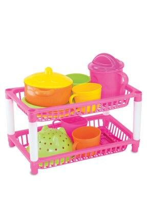 Muhcu Toys Kız Çocuk Pembe 17 Parça 2 Katlı Mutfak Seti