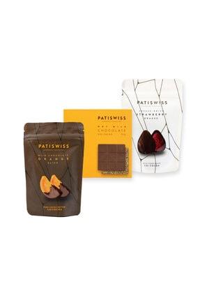 Patiswiss Sütlü Çikolata Karışık Set (sütlü Portakal Dilimi-fındıklı Sütlü Tablet-sütlü Çilek Draje)