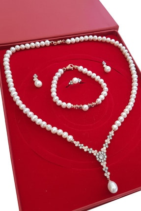 Chavin Inci Rose Gümüş Kolye Küpe Bileklik Yüzük Takım Set Ei70rs