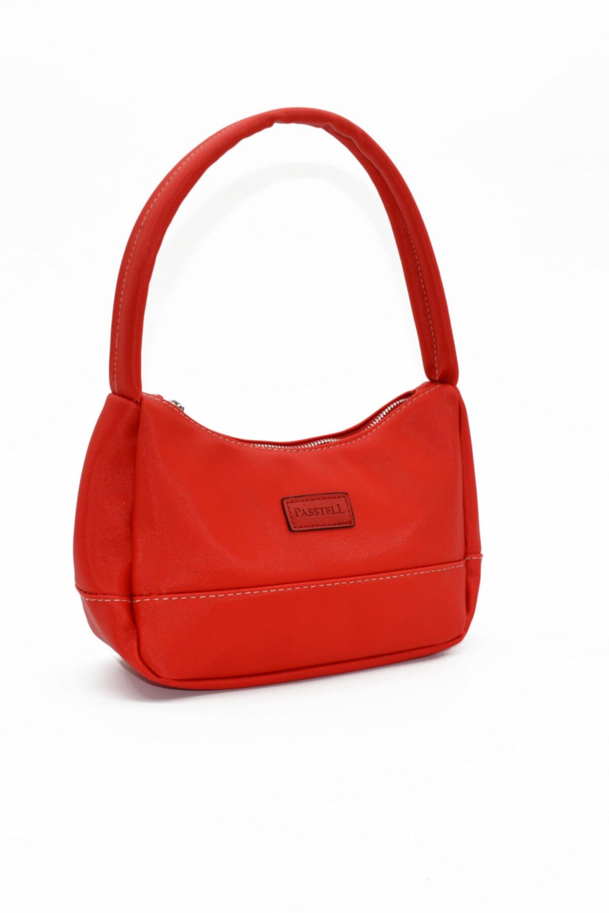 PASSTELL Bayan  Kırmızı  Saten Baget Çanta 2