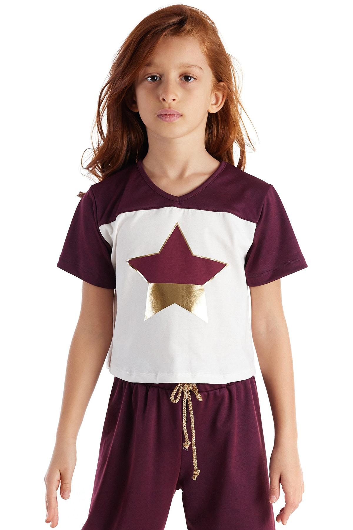 Colorinas Burgundy Star Foil Tshirt Beyaz 1