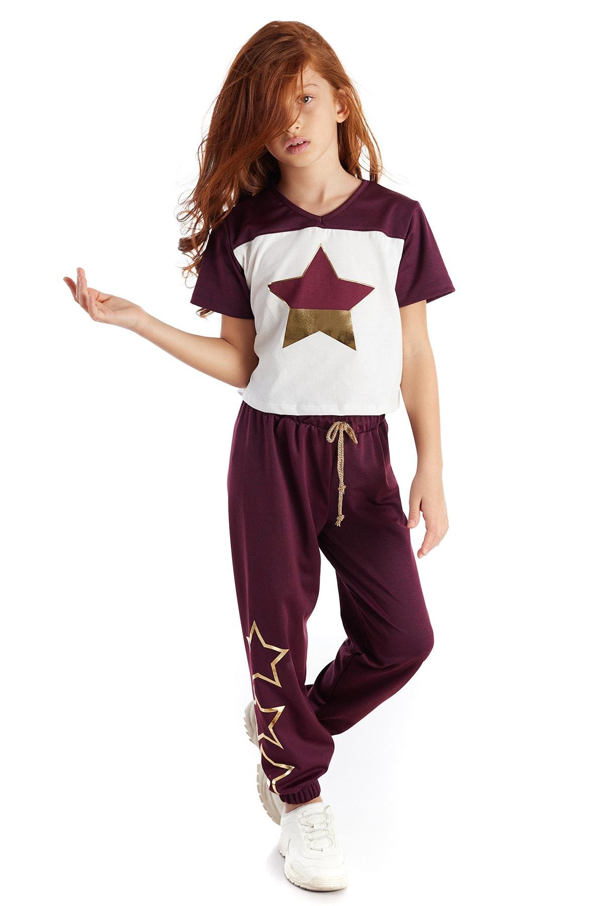 Colorinas Burgundy Star Foil Tshirt Beyaz 2