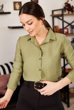 armonika Kadın Çimen Yeşil Uzun Kollu Düz Gömlek ARM-18Y001176