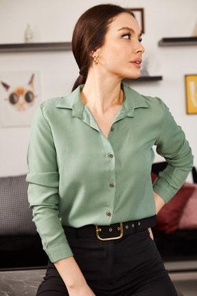 armonika Kadın Yeşil Uzun Kollu Düz Gömlek ARM-18Y001176