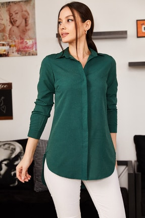 armonika Kadın Zümrüt Tunik Gömlek ARM-19Y001003